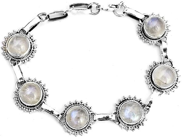 Oval Rainbow Moonstone Bracelet