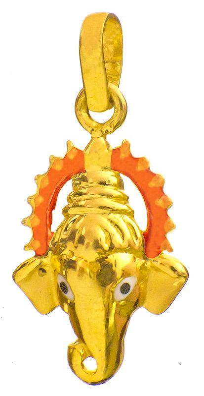 Ganesha Face Pendant with Enamelled Prabhamandala