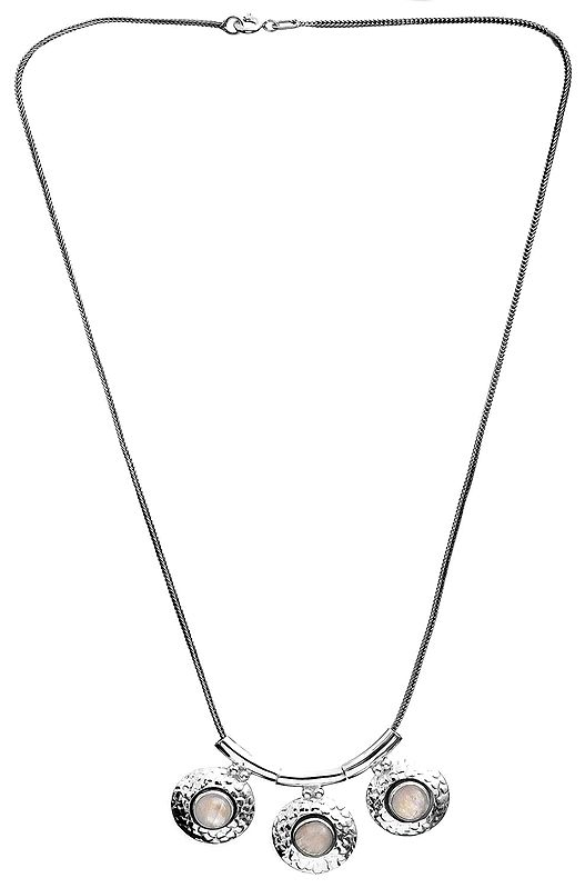 Faceted Triple Rainbow Moonstone Necklace