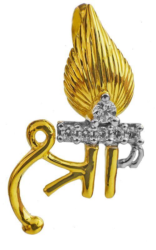 Shri (Lakshmi) Pendant with CZ