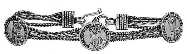 Sterling Victoria  Coin Bracelet with George V