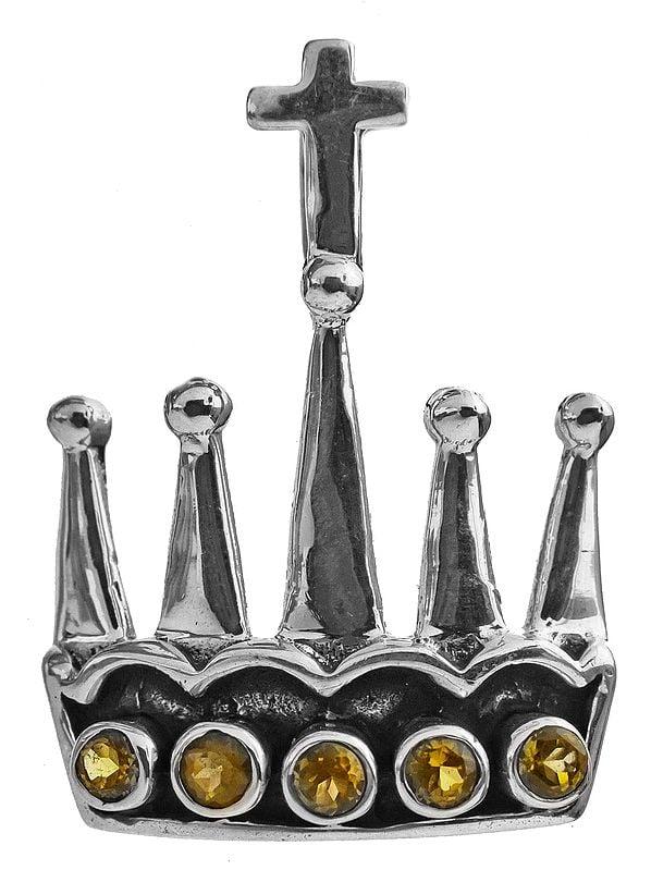 Faceted Citrine Crown Pendant