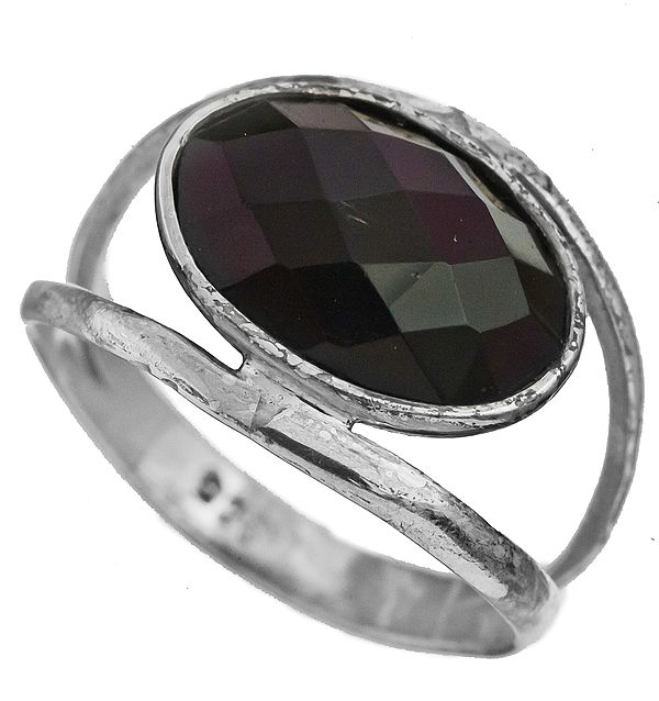 Faceted Black Spinel Ring