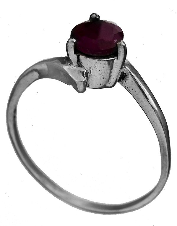 Faceted Ruby Ring