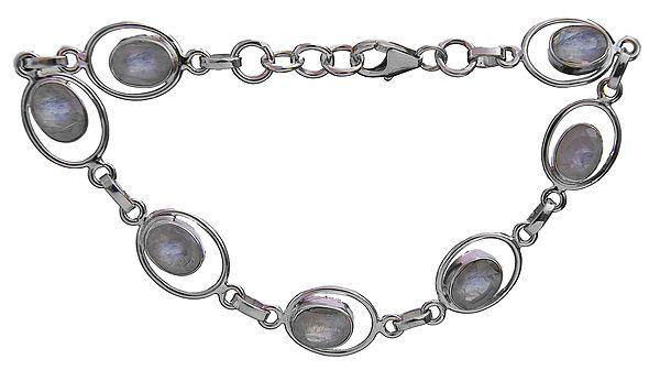 Faceted Rainbow Moonstone Oval Bracelet