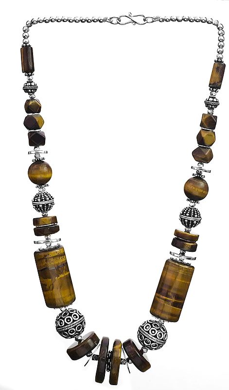 Tiger Eye Necklace with Sterling Beads