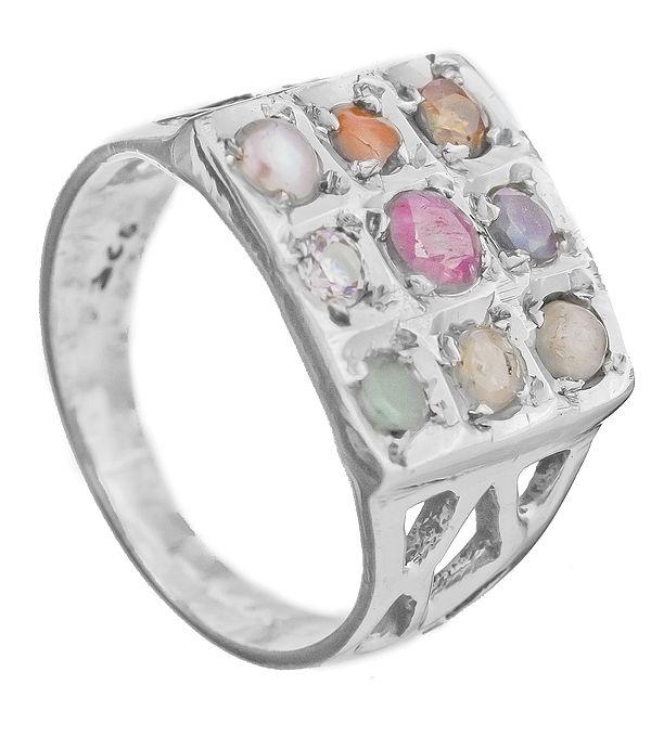 Navaratna Square-Shape Ring