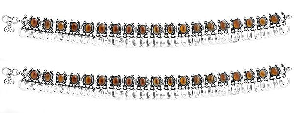 Sterling Carnelian Anklets (Price Per Pair)