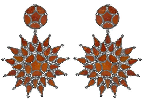 Inlay Coral Post Earrings