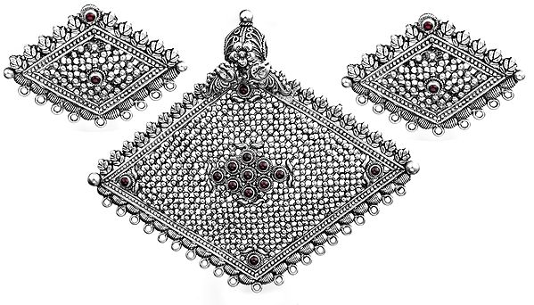 Rhombus-Shape Pendant with Earrings Set (South Indian Temple Jewelry)