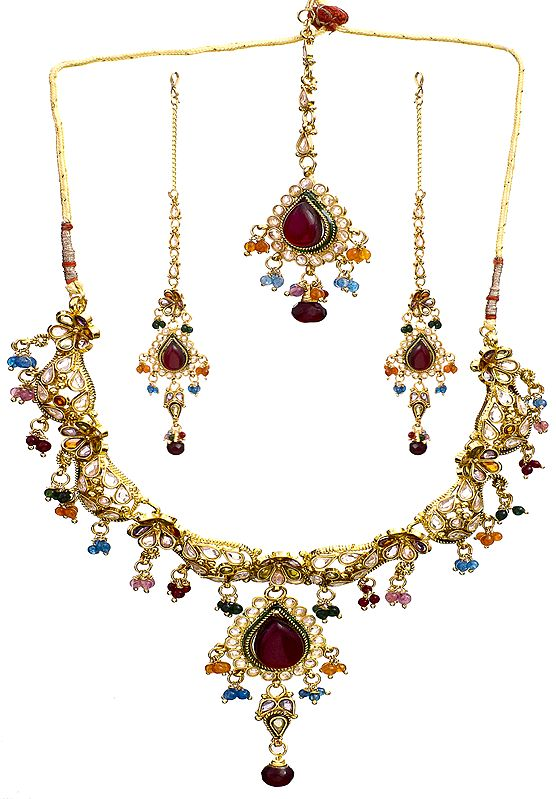 Multi-Color Polki Floral Necklace with Earrings and Mang Tika Set