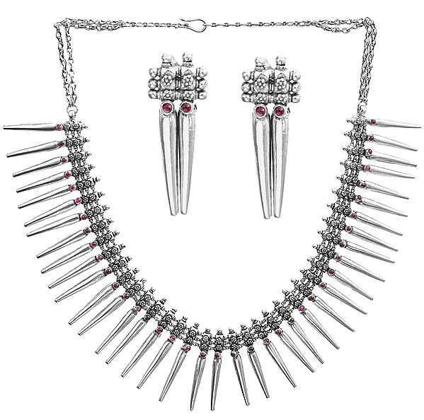 Statement Spikes Necklace With Spike Drop Earrings, Studded With Pink Gems