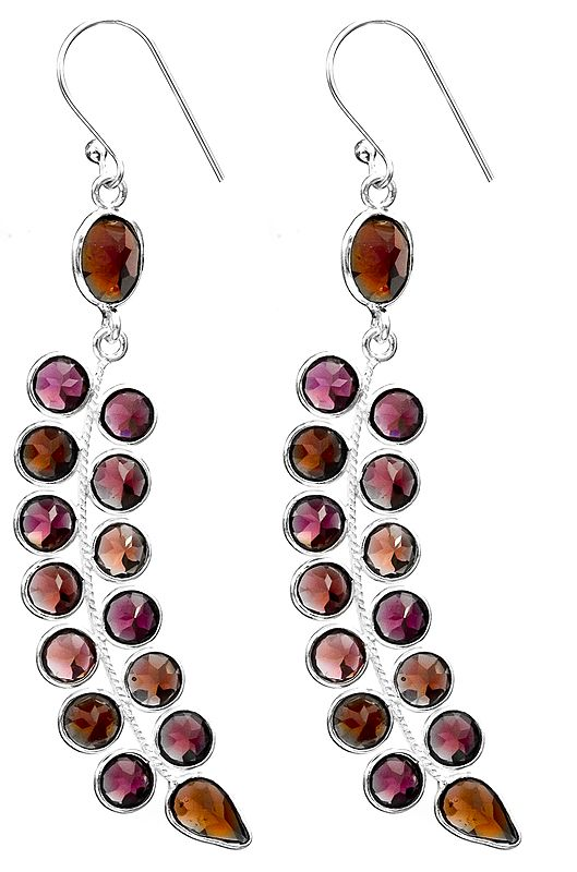 Faceted Leaves Earrings with Gems