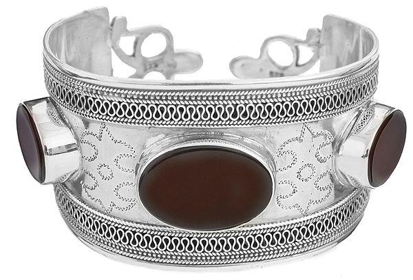 Carnelian Cuff Bracelet with Filigree