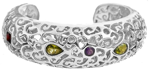 Faceted Gemstone Cuff Bracelet (Peridot, Garnet and Amethyst)