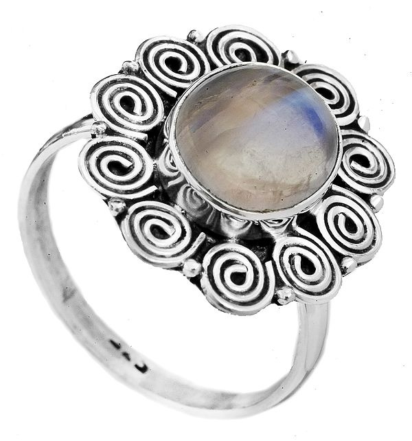 Rainbow Moonstone Ring with Spiral