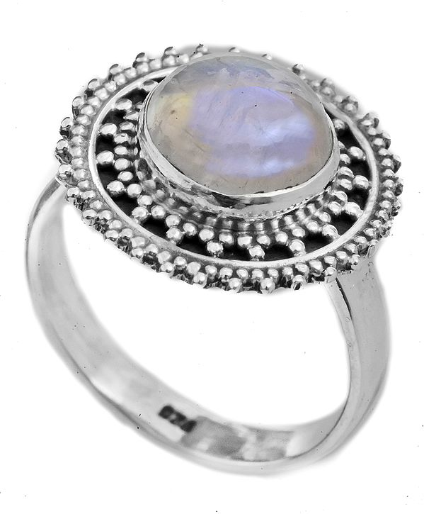 Rainbow Moonstone Ring with Granulation