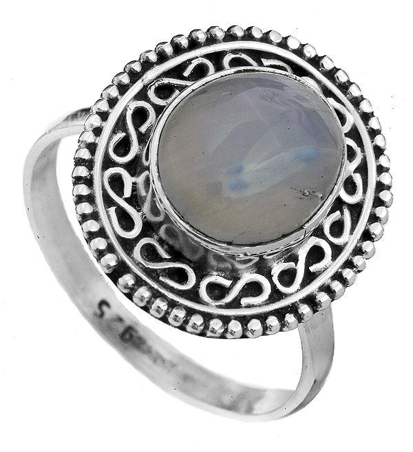 Rainbow Moonstone Oval Ring with Filigree