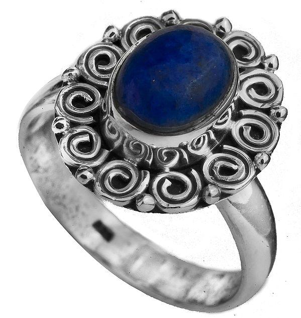 Lapis Lazuli Spiral Ring
