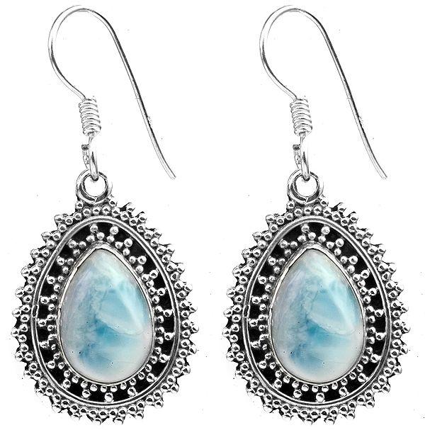 Granulated Larimar Pear Earrings