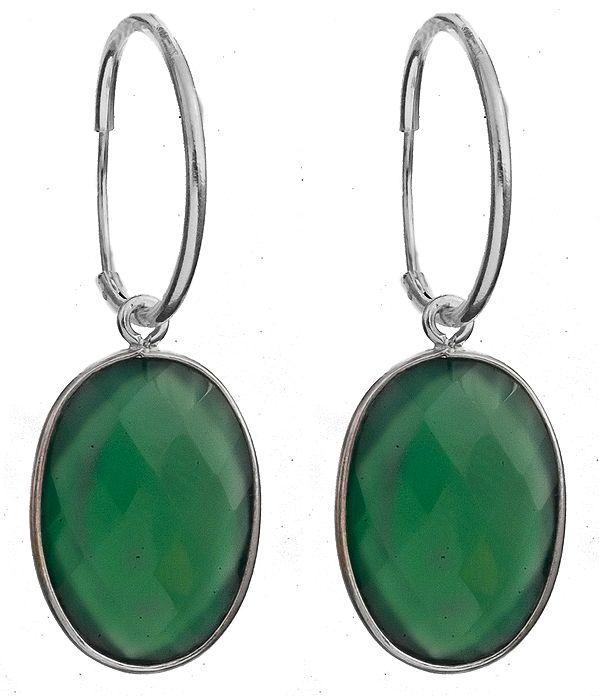 Hoop Earrings with Gemstone
