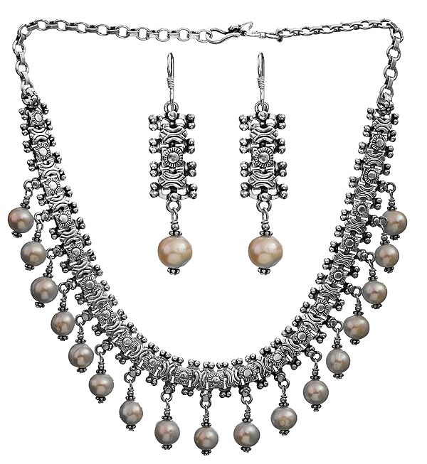 Pearl Necklace with Matching Earrings Set