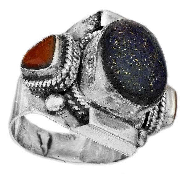 Lapis Lazuli Ring with Coral