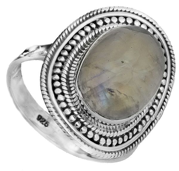 Rainbow Moonstone Ring with Granulation