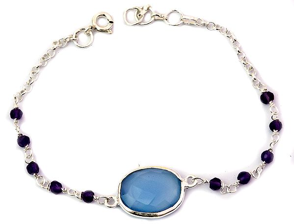 Faceted Blue Chalcedony Bracelet with Amethyst