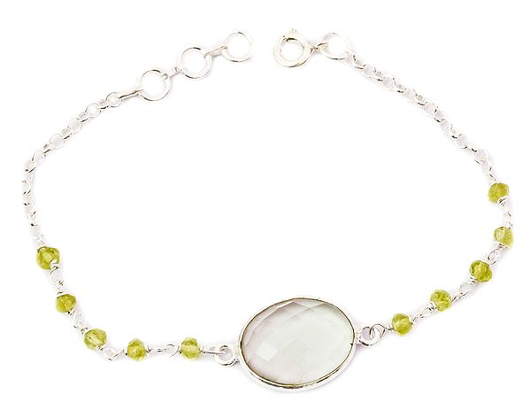 Faceted Green Amethyst Oval Bracelet with Peridot