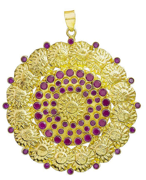 Lord Surya Gold Plated Pendant with Ruby