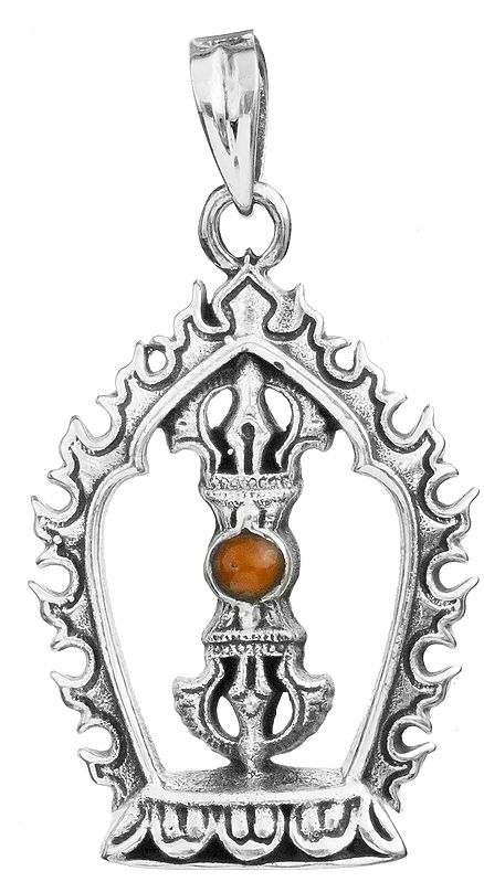 Pendant of Dorje Framed in Sacred Fire