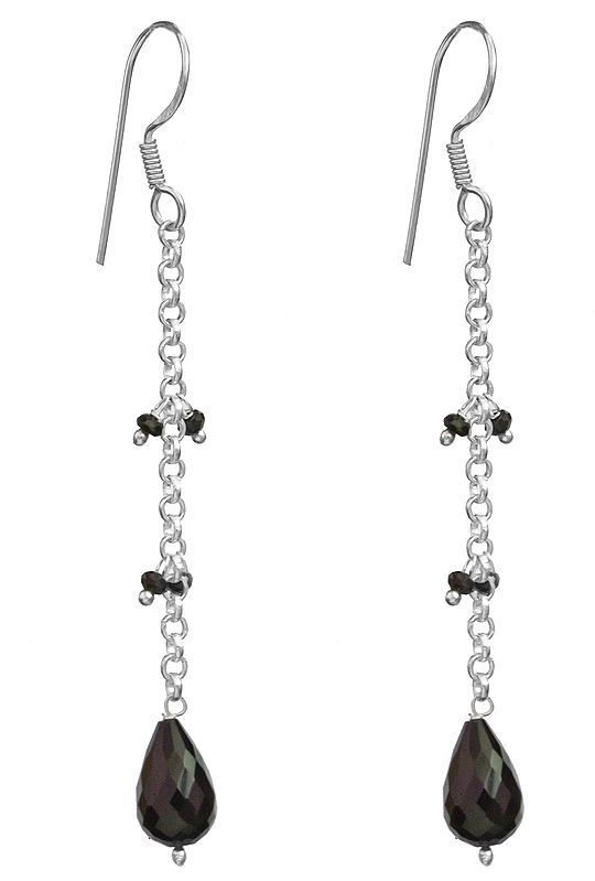 Earrings with Faceted Gemstone