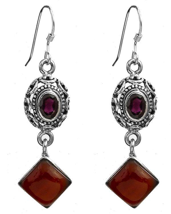 Faceted Garnet and Carnelian Earrings