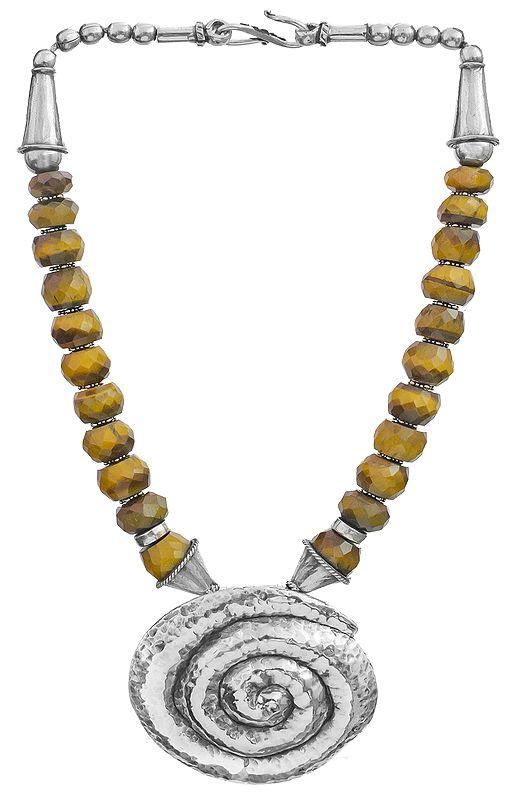 Faceted Tiger Eye Spiral Necklace