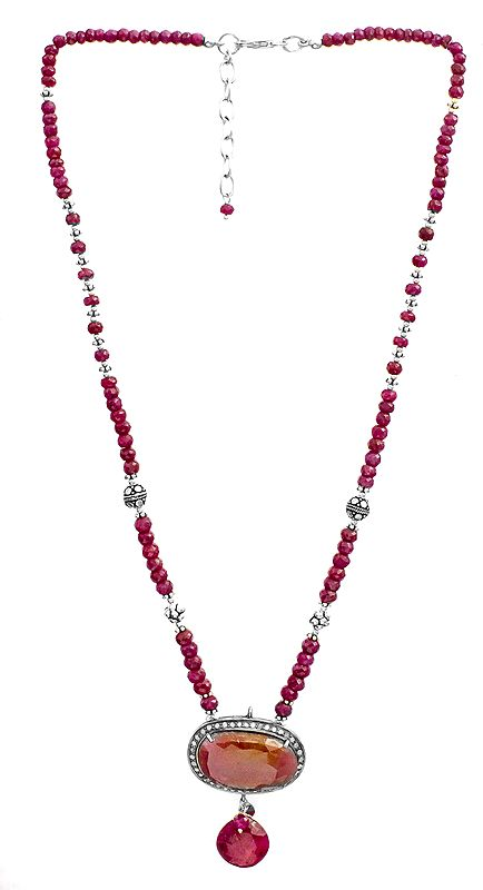 Faceted Ruby Beaded Necklace