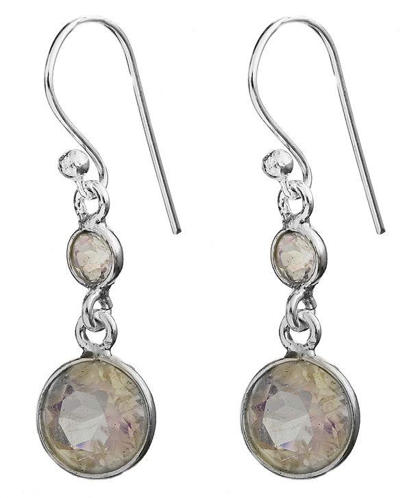 Twin Faceted Rainbow Moonstone Earrings