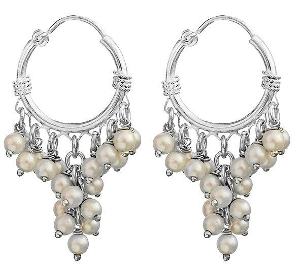 Pearl Hoop Chandelier Earrings