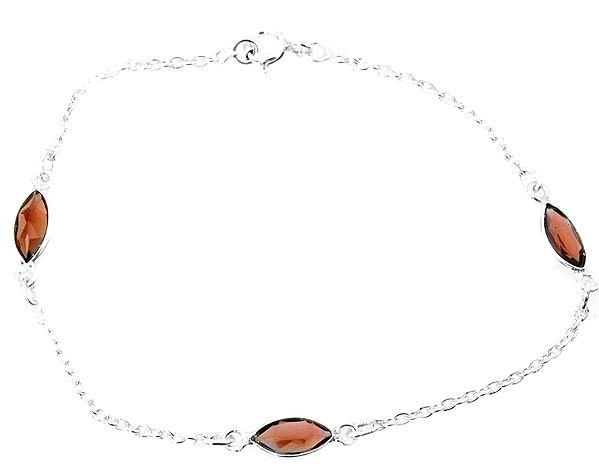 Faceted Garnet Marquis Bracelet