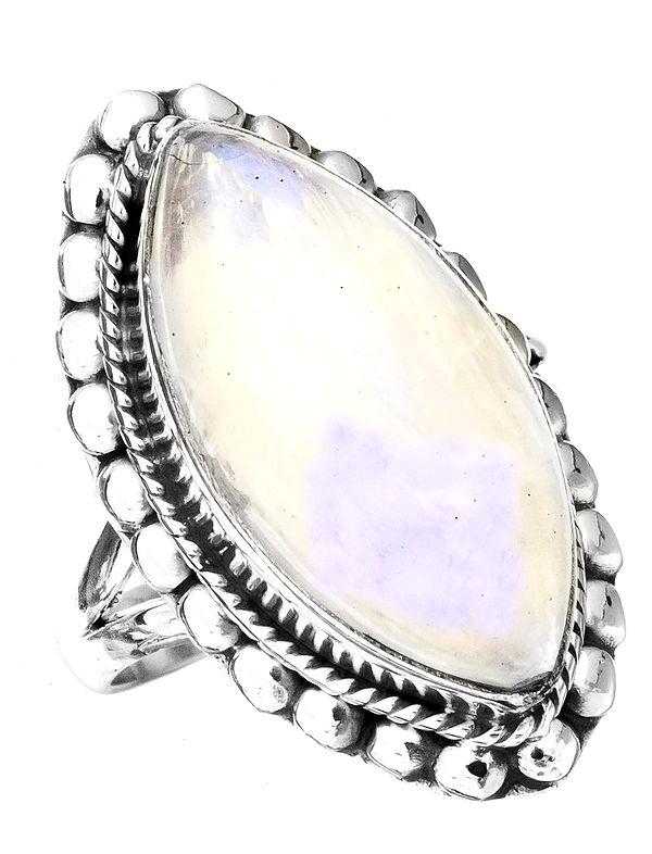 Rainbow Moonstone Marquis Ring