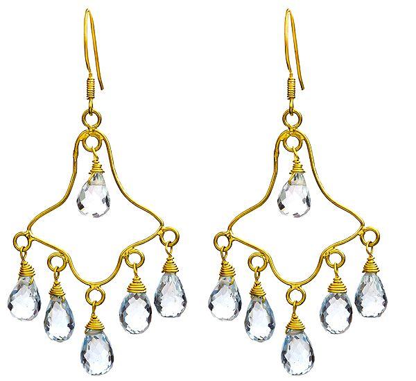 Faceted Blue Topaz Chandelier Earrings