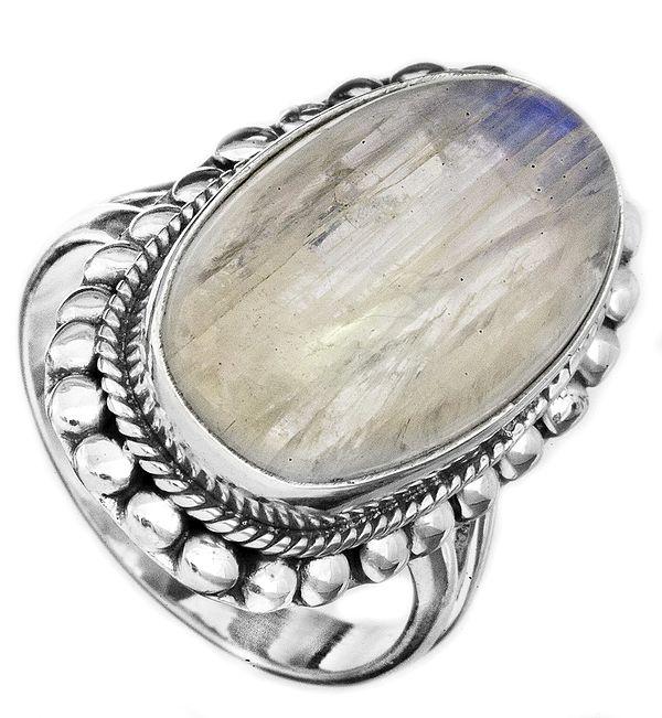 Rainbow Moonstone Oval Ring