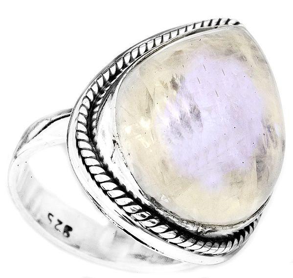 Rainbow Moonstone Drop Ring