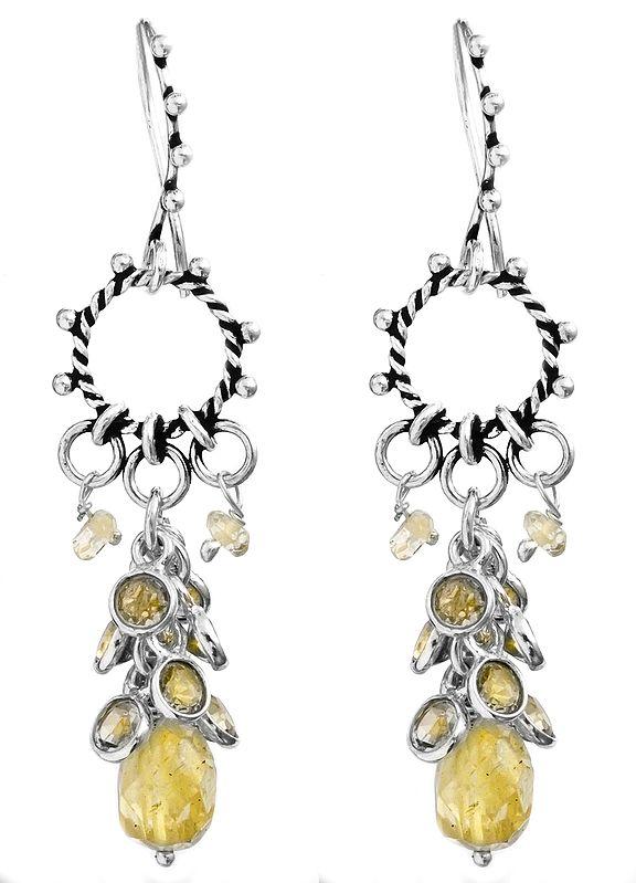 Faceted Citrine Hoop Chandelier Earrings