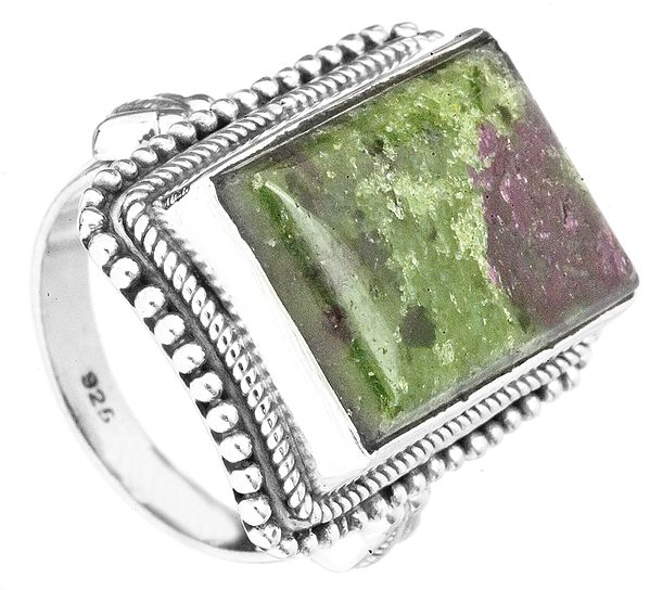 Ruby Zoisite Ring with Granulation