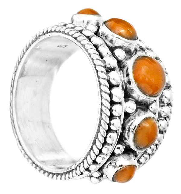 Granulated Coral Ring