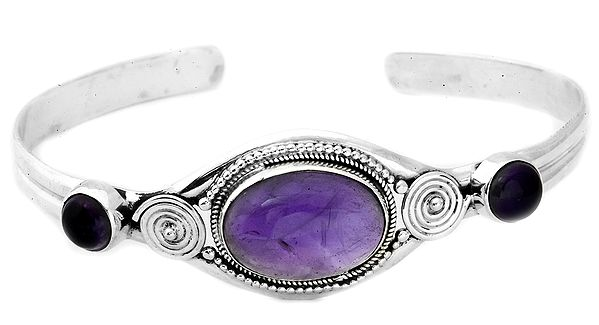 Gemstone Oval Bracelet with Spiral