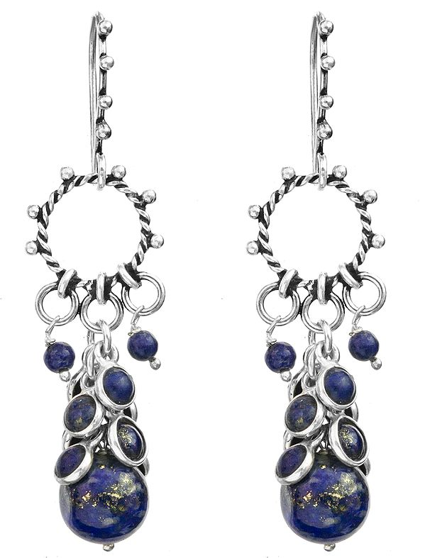 Lapis-Lazuli Hoop Bunch Earrings
