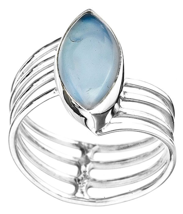 Blue Chalcedony Marquis Ring