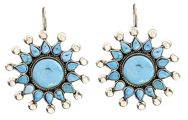 Turquoise Inlay Flower Earrings